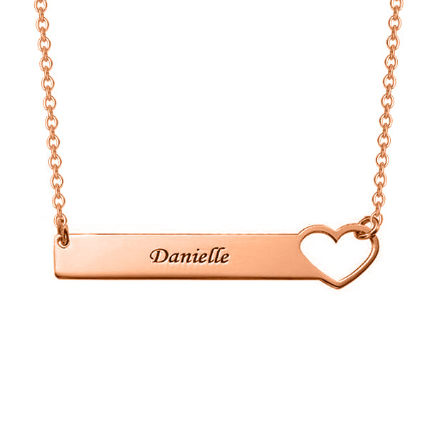 "Copper/925 Sterling Silver Personalized Engraved Heart Bar Necklace Adjustable 16""-20"""