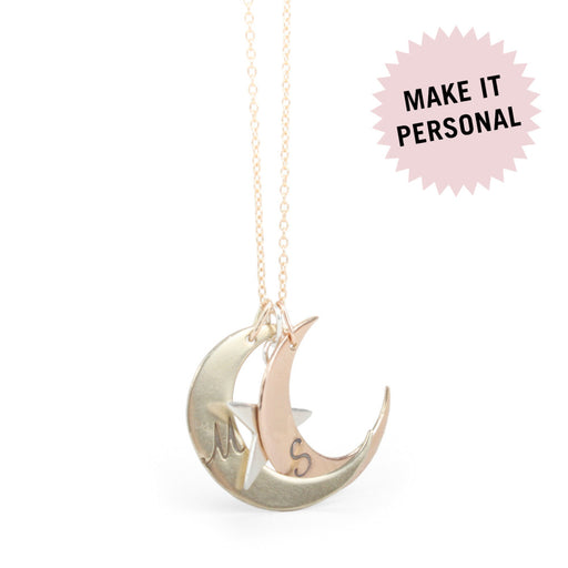 "925 Sterling Silver Personalized Engravable Moon & Star Initial Necklace-Adjustable 16""-20"""