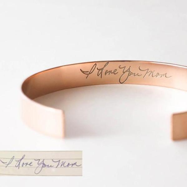 "Personalized Handwriting Cuff Bangle in 925 Sterling Silver Adjustable 6""-7.5"""