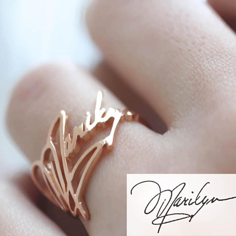 Copper/925 Sterling Silver Personalized  Memorial Signature Name Ring
