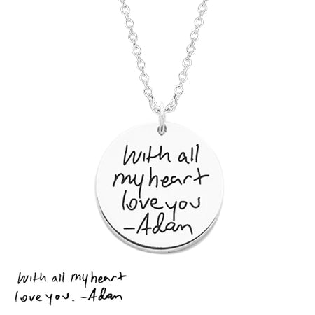 "Copper/925 Sterling Silver Personalized Disc Handwriting Signature Necklace-Adjustable 16""-20"""