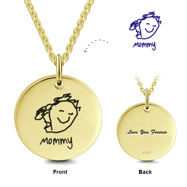925 Sterling Silver Kid's Drawing Disc Engraved Photo Necklace