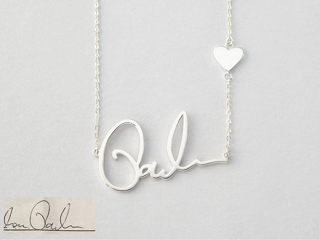 925 Sterling Silver Adjustable Chain Signature Necklace with Heart Charm