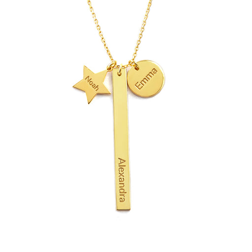 Plated Yellow Gold Mom Necklace With Kid's Names - Multi-tags