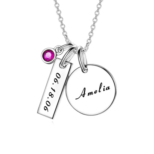 "Copper/925 Sterling Silver Personalized Engravable Necklace With Birthstone for New Mom -Adjustable 16""-20"""