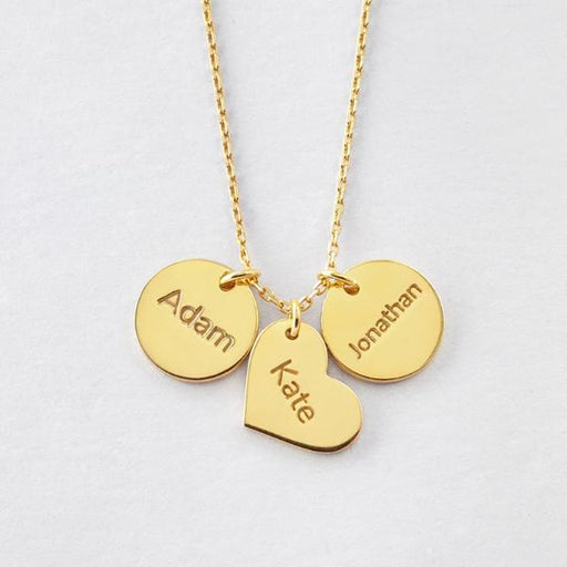Plated Yellow Gold Adjustable Chain Children's Name Necklace - Multi-charm