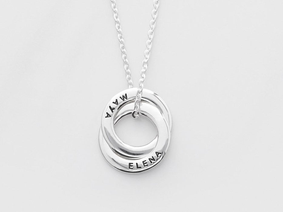"925 Sterling Silver Personalized Dainty Mom Necklace with Children's Names Adjustable 16""-20"" - 2 Rings"