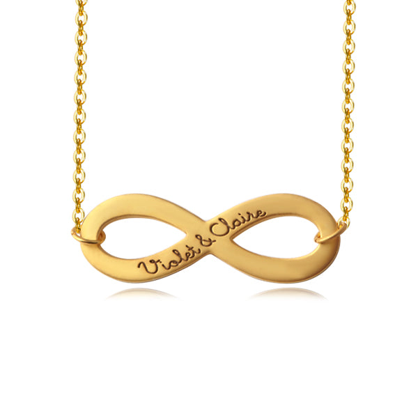 Infinity Necklace with Couple Name-Plated Yellow Gold