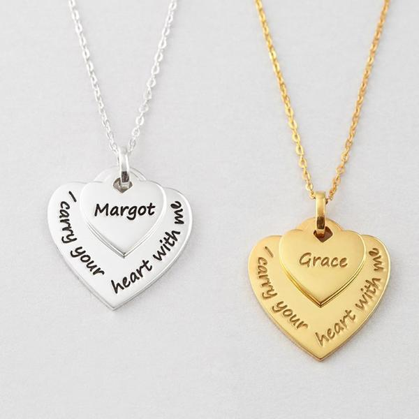 """Carry Your Heart""-925 Sterling Silver Personalized  Mother Daughter Matching Necklaces Adjustable 16""-20"""
