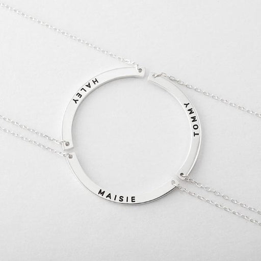 "Circle of Love -  925 Sterling Silver Personalized Mother and Daughter Necklaces Set of 3 Adjustable 16""-20"""