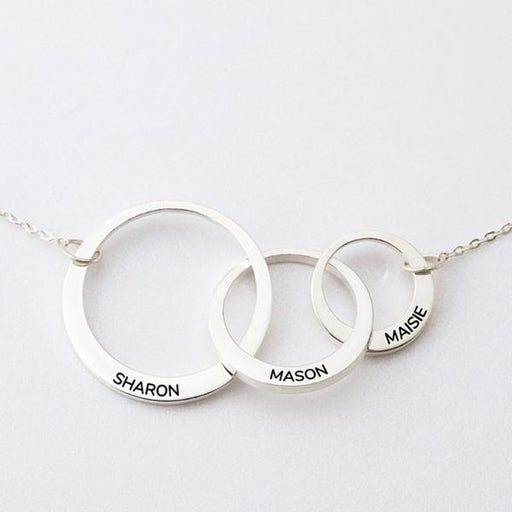 "925 Sterling Silver Personalized Mom And Child Circle Necklace Adjustable 16""-20"""