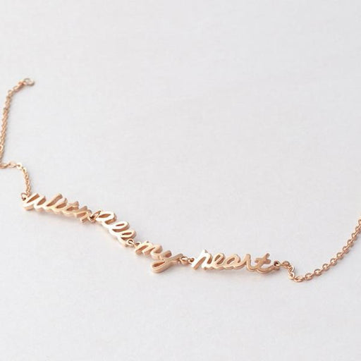 925 Sterling Silver Personalized Handwriting Name Bracelet - Linked Words