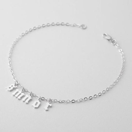925 Sterling Silver Personalized  Initial Name Bracelet - Cut-out