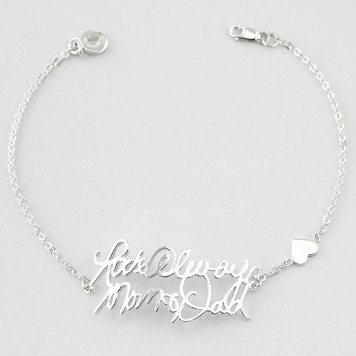 Personalized Handwriting Name Bracelet with Heart Charm in 925 Sterling Silver