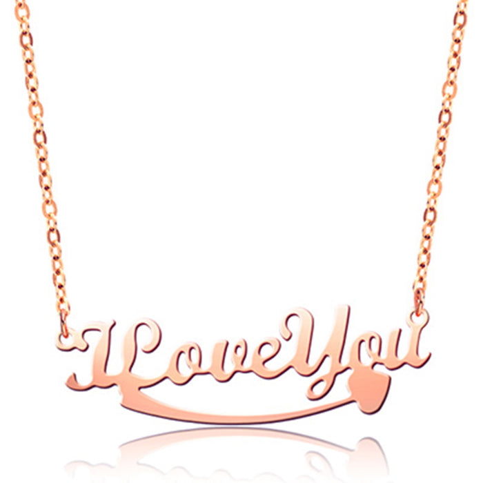 "I Love You 925 Sterling Silver Personalized Classic Name or Text  Necklace Adjustable 16""-20"""