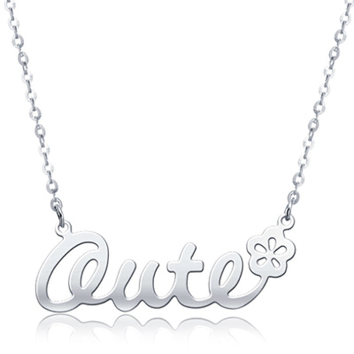 "925 Sterling Silver Personalized Classic Name Necklace with Flower Adjustable 16""-20"""