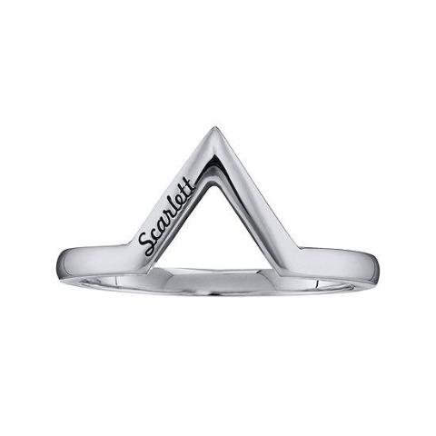925 Sterling Silver Personalized V-Shaped Ring