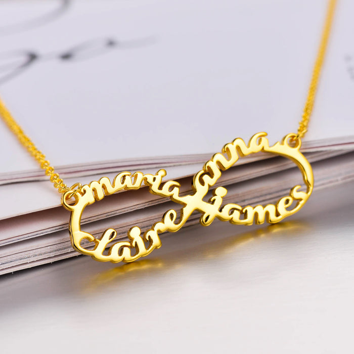 "Copper/925 Sterling Silver Personalized  Infinity Name Necklace With 4 Names Adjustable 16""-20"""