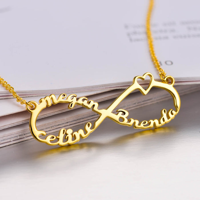"Copper/925 Sterling Silver Personalized Infinity Name Necklace With 3 Names Adjustable 16""-20"""