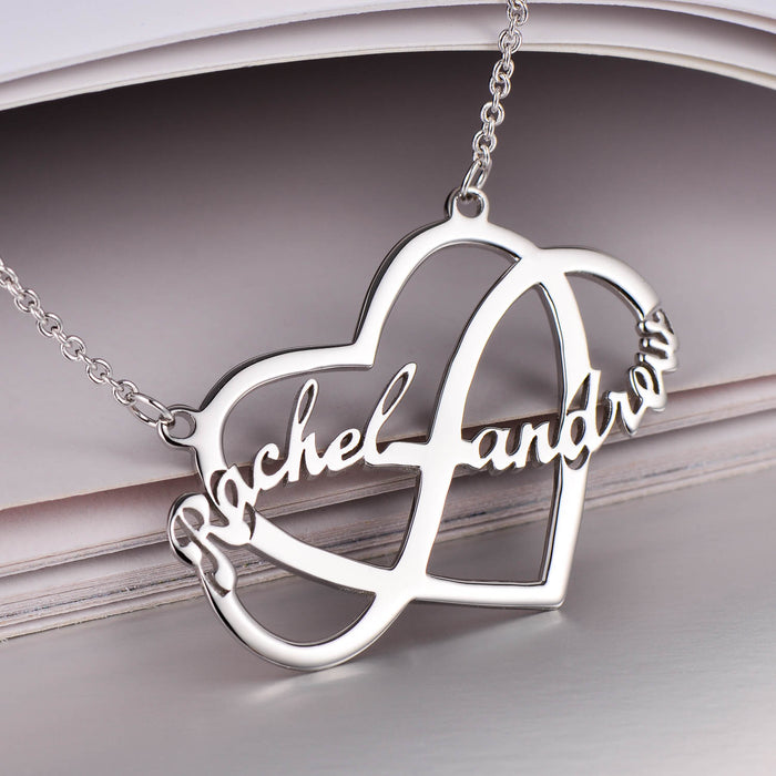 """ce032c125b125 Infinity Love Copper/925 Sterling Silver Personalized Couple Name Necklace  Adjustable 16""""-20"""""""