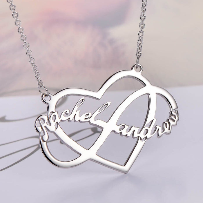 "Infinity Love Copper/925 Sterling Silver Personalized Couple Name Necklace Adjustable 16""-20"""