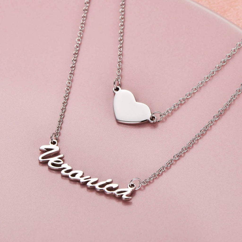 "Put you in my heart - Copper/925 Sterling Silver Two Layers Personalized Heart Name Necklace Adjustable 16""-20"""