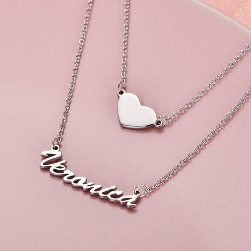 "Put you in my heart - Copper/925 Sterling Silver/10K/14K/18K Two Layers Personalized Heart Name Necklace Adjustable 16""-20"""