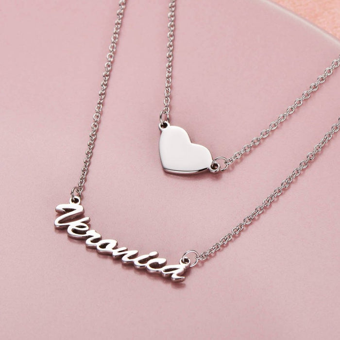 """2acff23d14521 Put you in my heart - Copper/925 Sterling Silver Two Layers Personalized  Heart Name Necklace Adjustable 16""""-20"""""""
