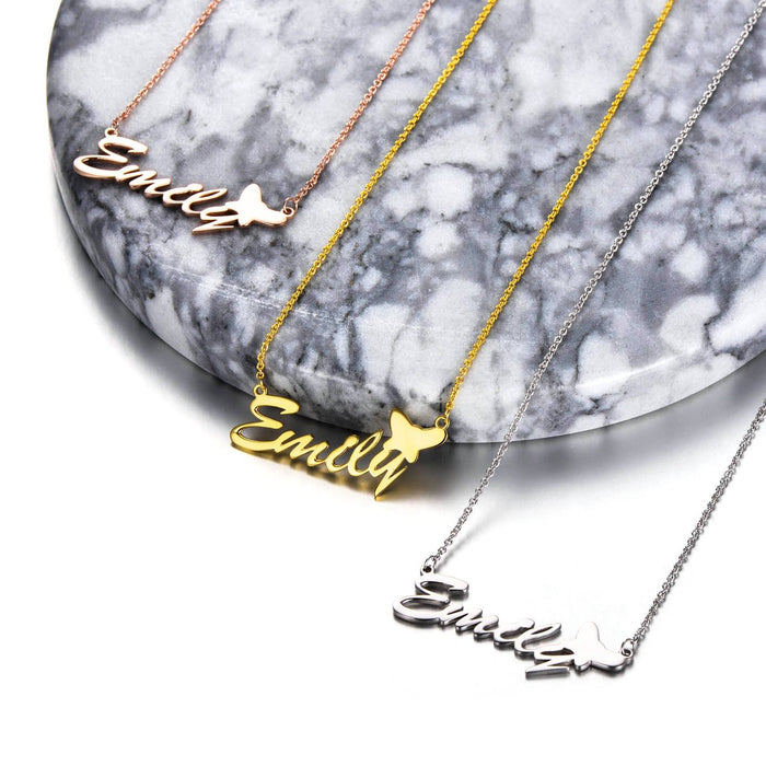 """Emily""Style Copper/925 Sterling Silver Personalized Name Necklace Adjustable 16""-20"""