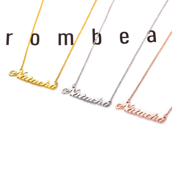 "Copper/925 Sterling Silver Personalized  Name Necklace  16""-20"" Adjustable Chain-White Gold Plated"