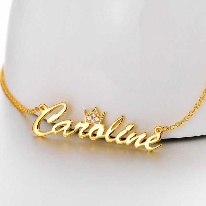 "925 Sterling Silver Beautiful Crown Custom Name Necklace with Swarovski Stones Adjustable 16""-20"""