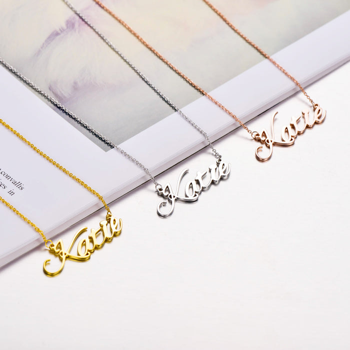 Copper/925 Sterling Silver Personalized Classic Name Necklace-Rose Gold/Yellow Gold/White Gold Plated