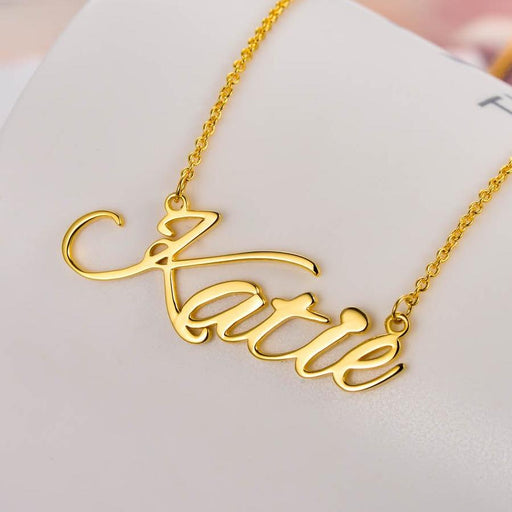 Katie - Copper/925 Sterling Silver/10K/14K/18K Personalized Classic Name Necklace-Rose Gold/Yellow Gold/White Gold Plated