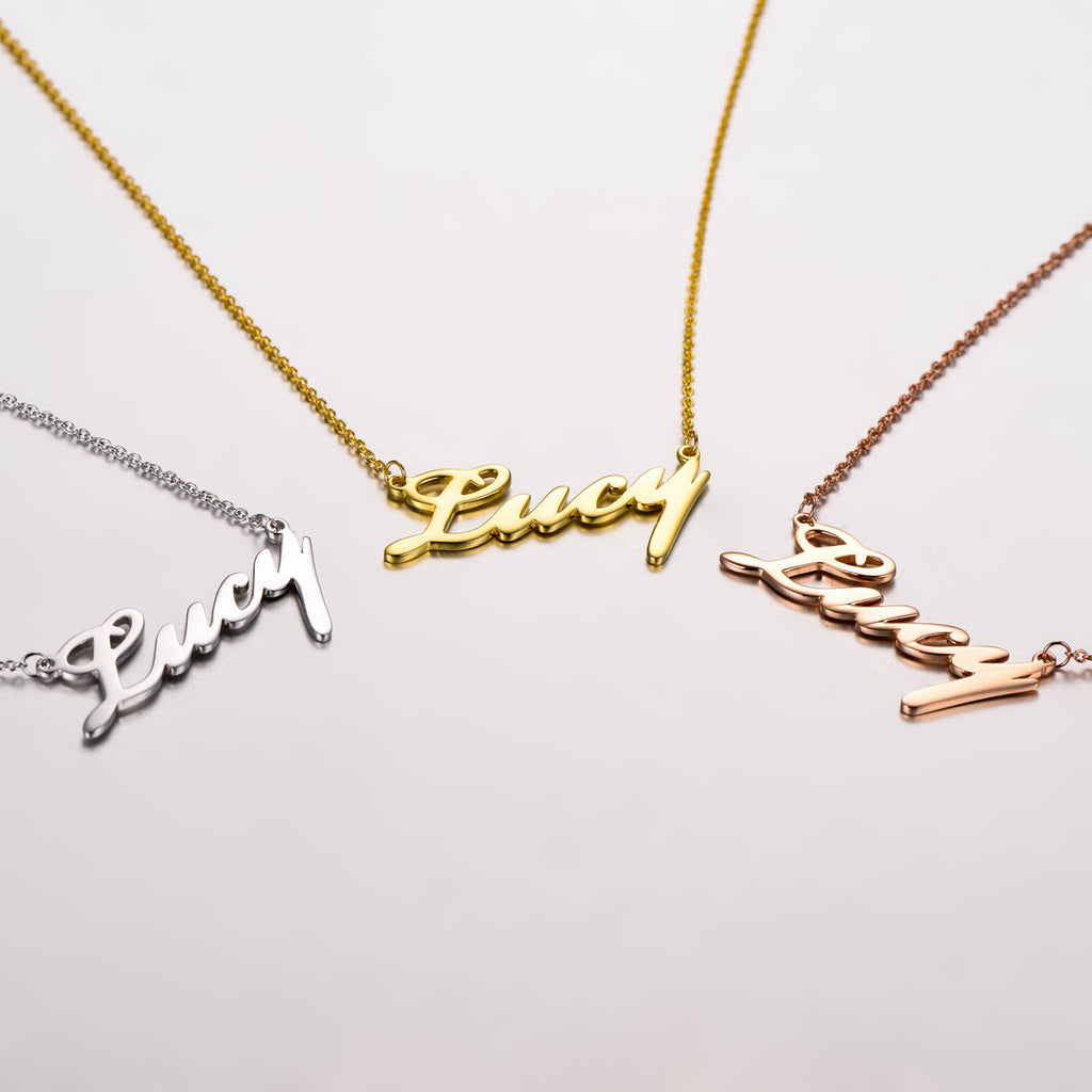 "Lucy - 925 Sterling Silver Personalized Classic Name Necklaces Adjustable Chain 16""-20"