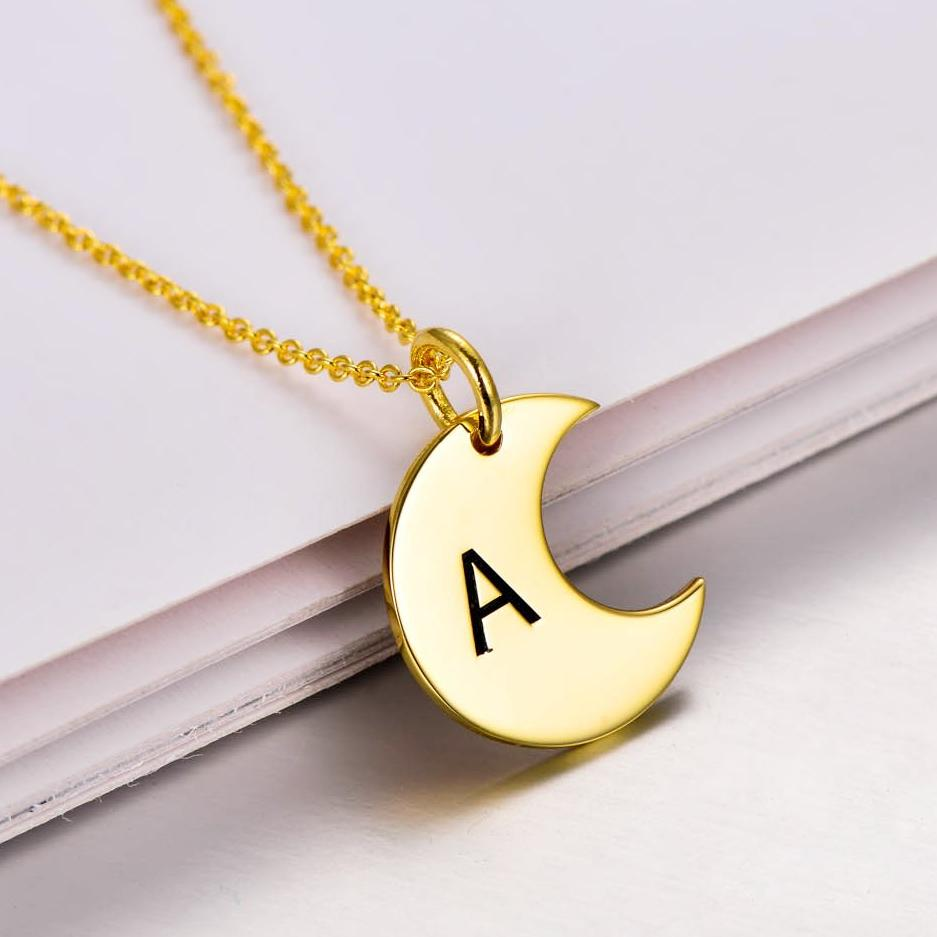 "925 Sterling Silver Personalized Dainty Gold Moon Initial Necklace Adjustable 16""-20"""