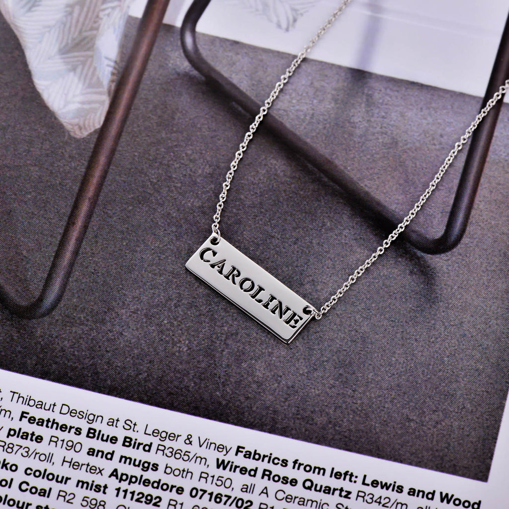 "Copper/925 Sterling Silver Personalized  Hollow Bar Name Necklace Adjustable 16""-20"""