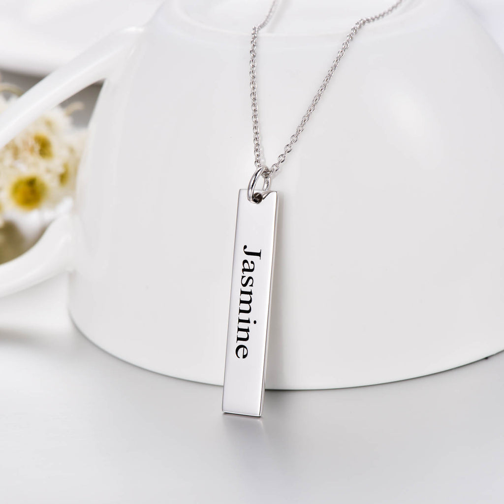 "Copper/925 Sterling Silver Personalized  Engravable Vertical Bar Necklace Adjustable 16""-20"""