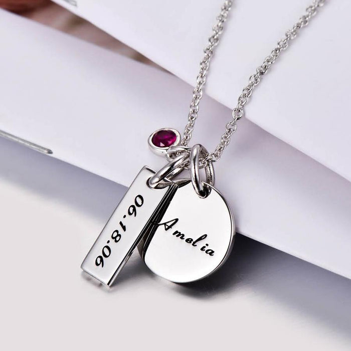 "925 Sterling Silver Personalized Engravable Necklace With Birthstone for New Mom -Adjustable 16""-20"""