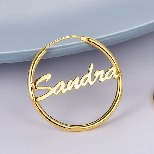 Copper Personalized Simple Hoop Name Earrings