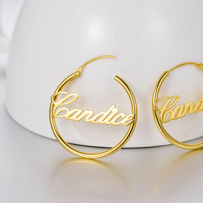 Copper/925 Sterling Silver Personalized Script Name Hoop Earrings
