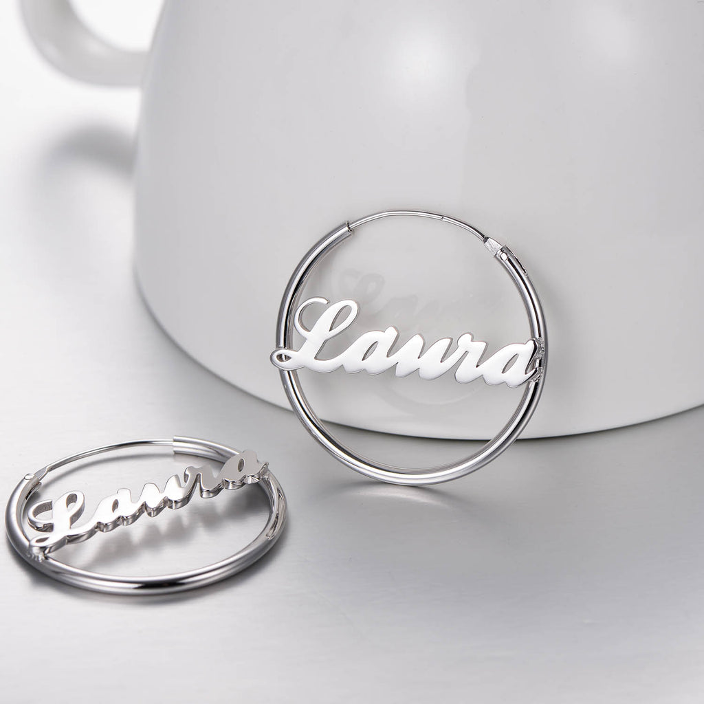 Copper/925 Sterling Silver Personalized Name Earrings