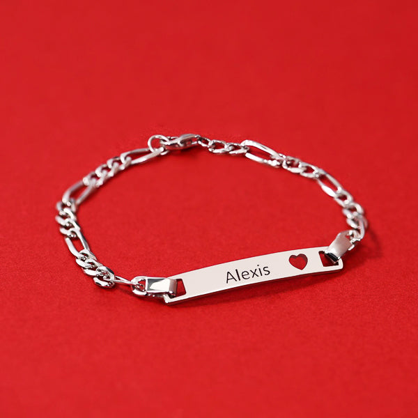 "Copper/925 Sterling Silver Personalized  Bar Engraved Bracelet with Heart Adjustable 6""-7.5"""