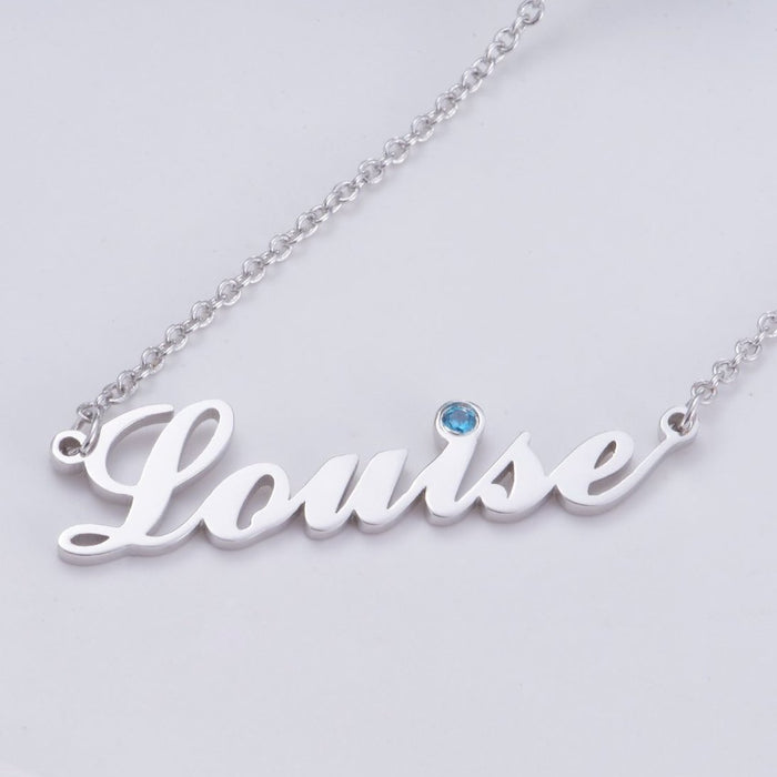 "Louise - Copper/925 Sterling Silver/10K/14K/18K Personalized Name Necklace with Birthstone  Adjustable 16""-20"""