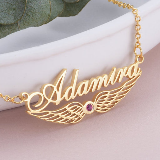 "Angels Wings - Copper/925 Sterling Silver Personalized Angel Wing Swarovski Name Necklace Adjustable Chain 16""-20"""