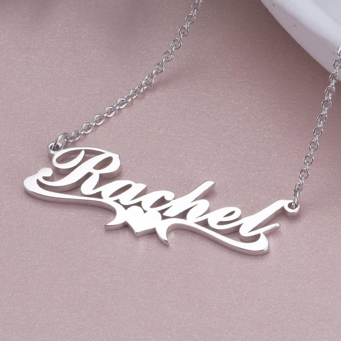 "Rachel - Copper/925 Sterling Silver  Personalized Middle Heart Name Necklace Adjustable 16""-20"""