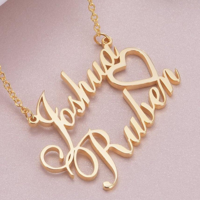 "Joshua - Copper/925 Sterling Silver/10K/14K/18K Personalized Double Names Necklace with A Cut Out Heart Adjustable 16""-20"""