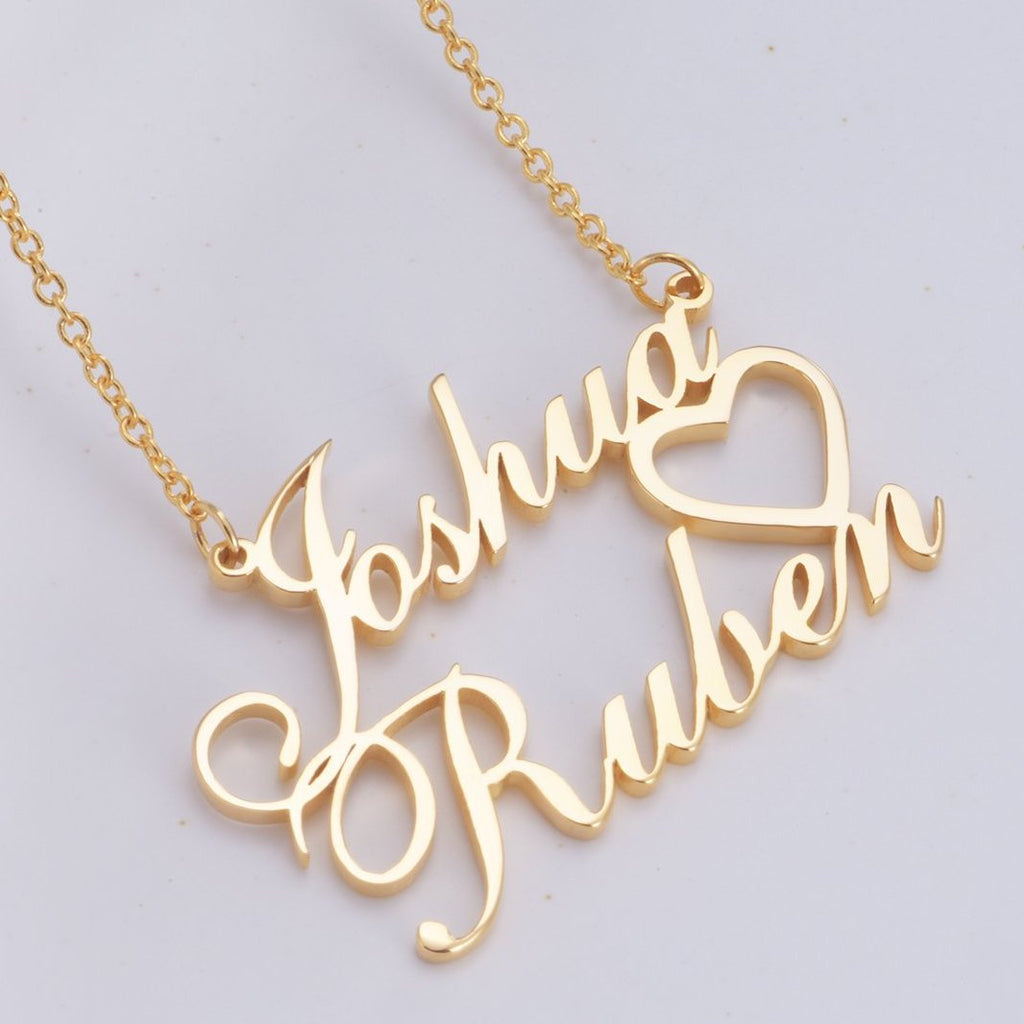 "Joshua - Copper/925 Sterling Silver Personalized Double Names Necklace with A Cut Out Heart Adjustable 16""-20"""