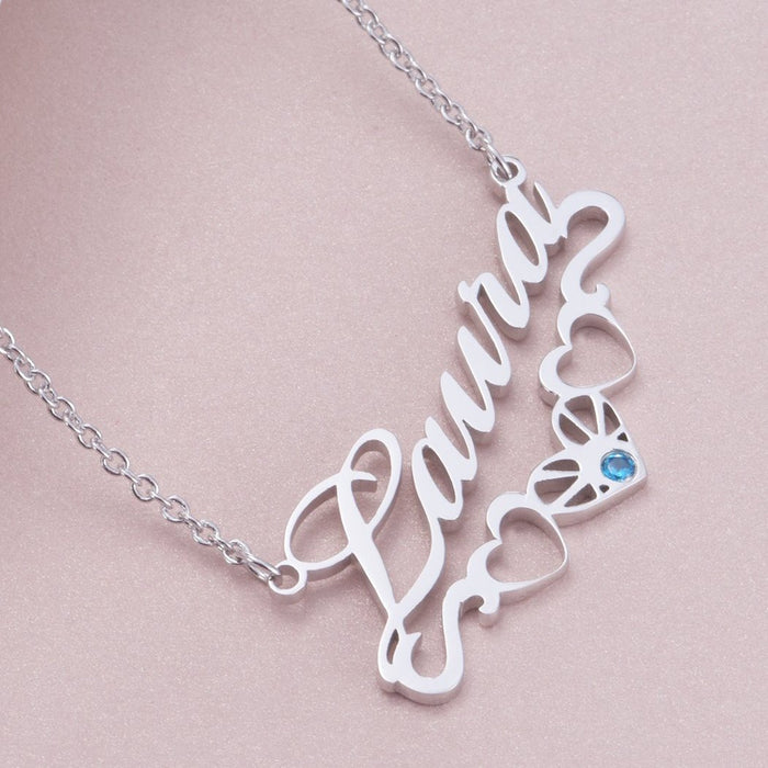 "Copper/925 Sterling Silver/10K/14K/18K Personalized Name Necklace with Underline Hearts Adjustable Chain 16""-20"""