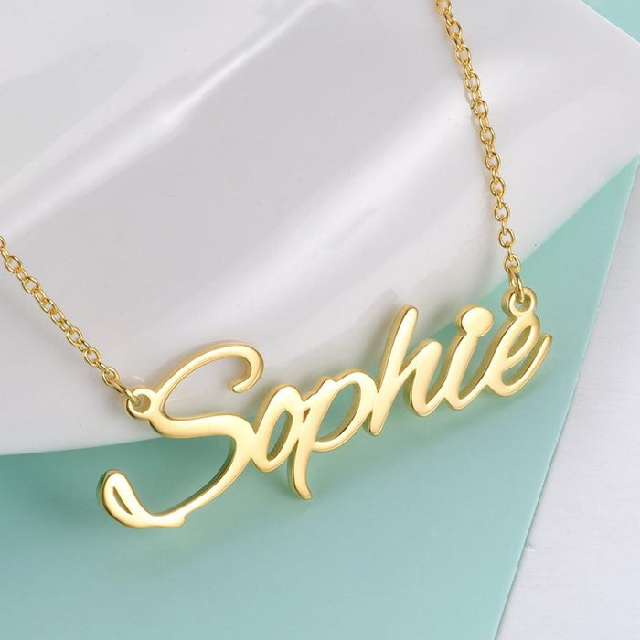 """Sophie""Style Copper/ 925 Sterling Silver Personalized Name Necklace  Adjustable 16""-20"""