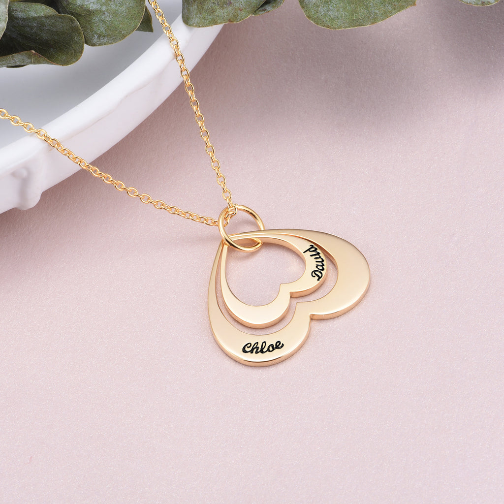 "yafeini Custom Name Necklace Personalized Jewelry Copper 925 Sterling Silver Yellow White Adjustable 16""-20"" - Double Name"